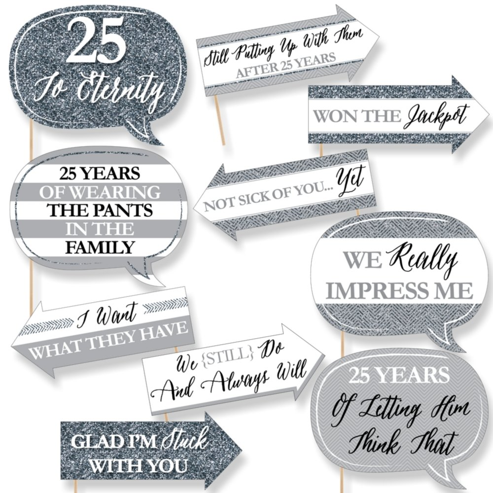 Funny We Still Do - 25th Wedding Anniversary - Anniversary Party Photo Booth Props Kit - 10 Piece