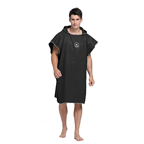 2bf63855499cf2 Hiturbo Microfiber Surf Beach Wetsuit Changing Towel Bath Robe Poncho with  Hood Black-One Size