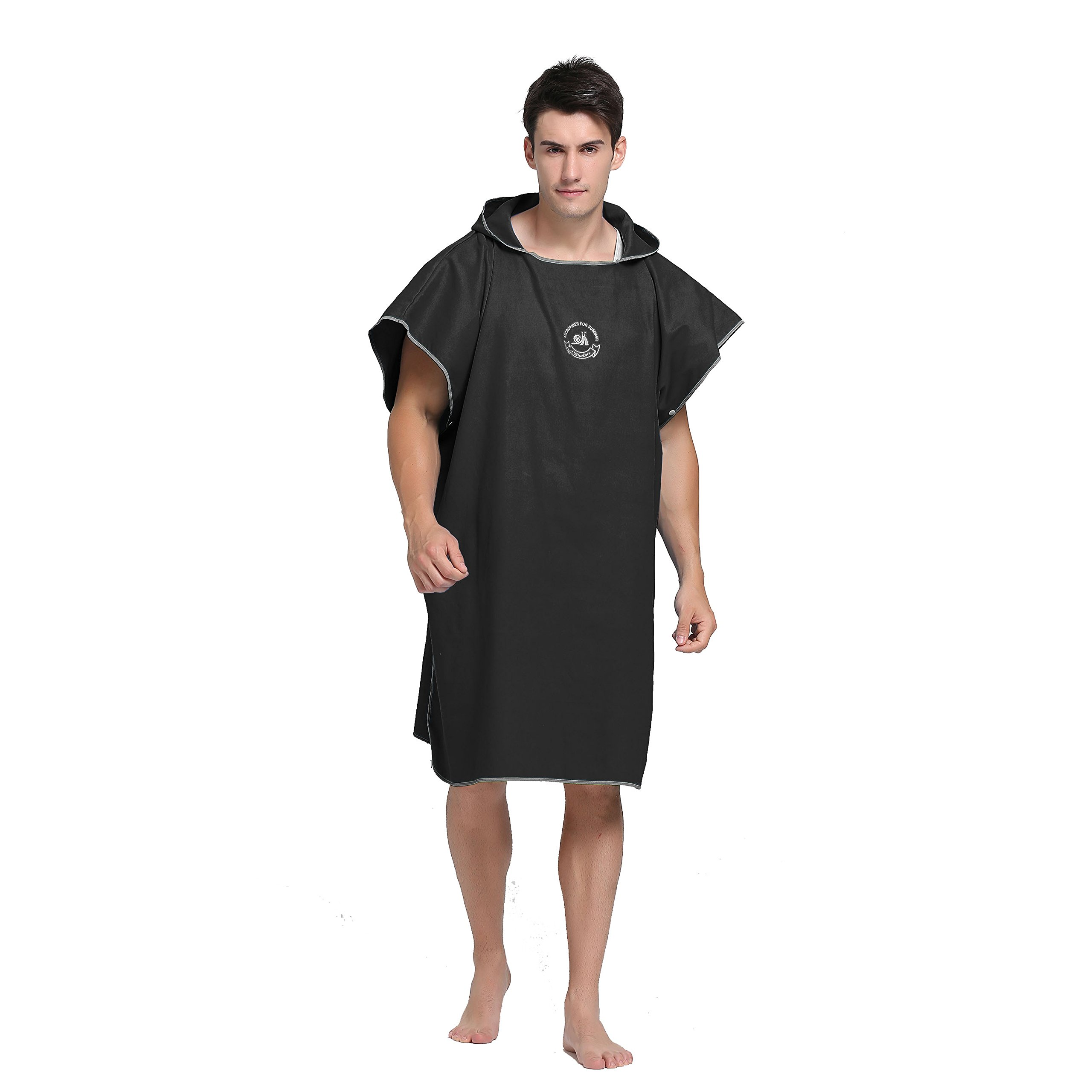 Wetsuit Changing Robe Towel Poncho with Hood Sleeve Pocket for Surfer Swimmer One Size Fit All