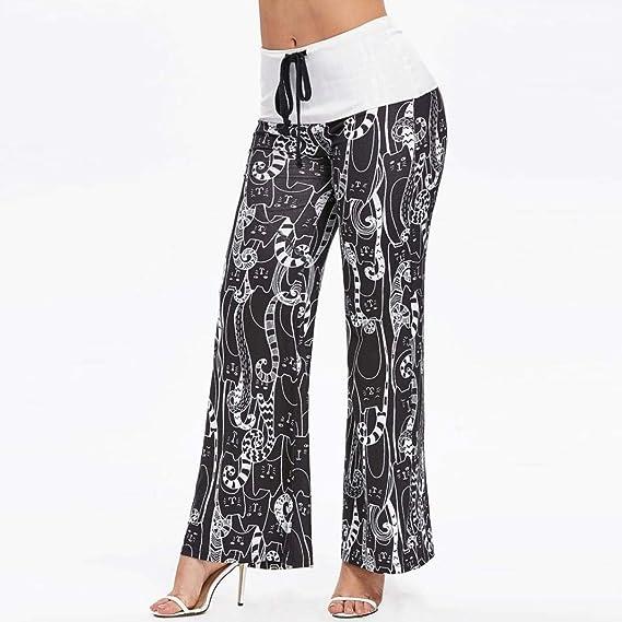 Mujer Elegantes Moda Pantalones Baggy Primavera Gatos Estampadas ...