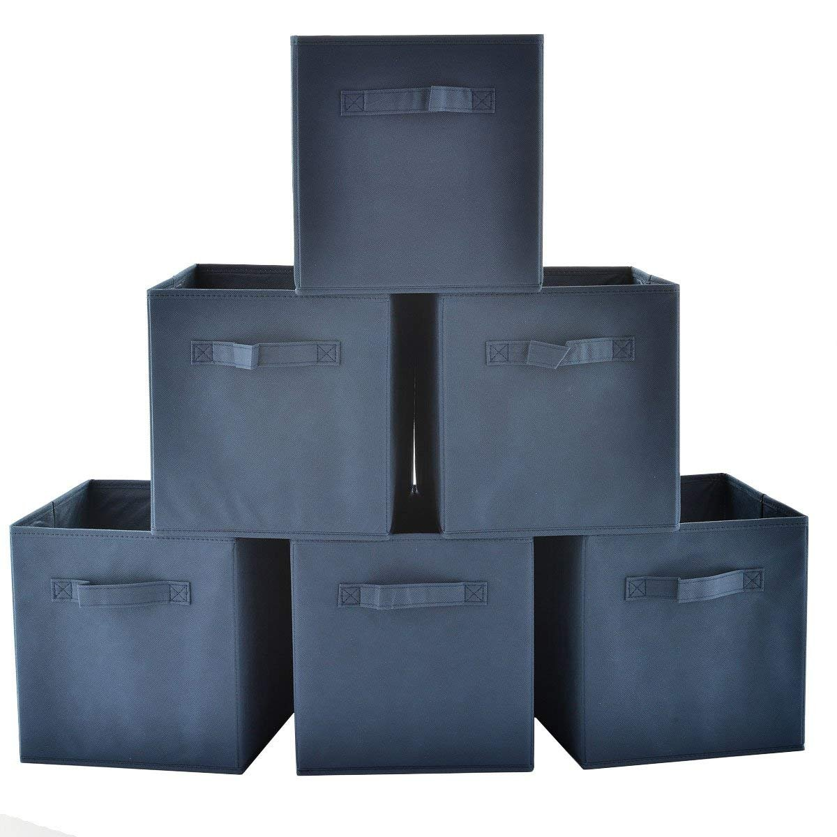 SHACO Durable Cloth Storage Cubes, Blue Foldable Fabric Drawers For Six Cubes