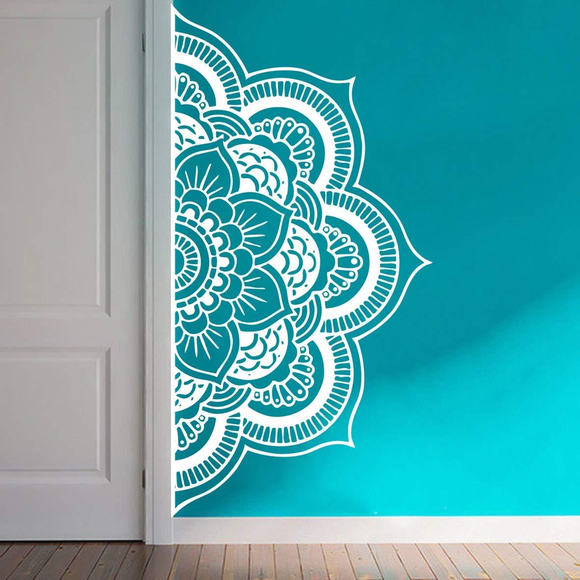 YOYOYU Wall Decal Half Mandala Headboard Wall Sticker Yoga Boho Indian OM Mandala Flower Wall Sticker Art Living Room Interior Bed Decor Sticker Mural Y022 57X109CM, White