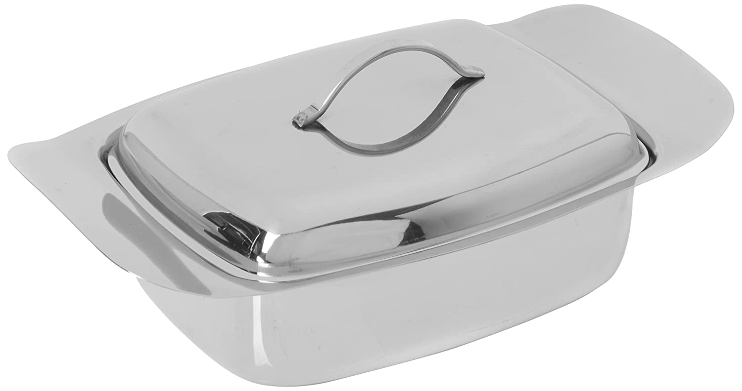 Genware NEV-6003 Butter Dish And Lid, Stainless Steel, 250 g, 0.5 lb.