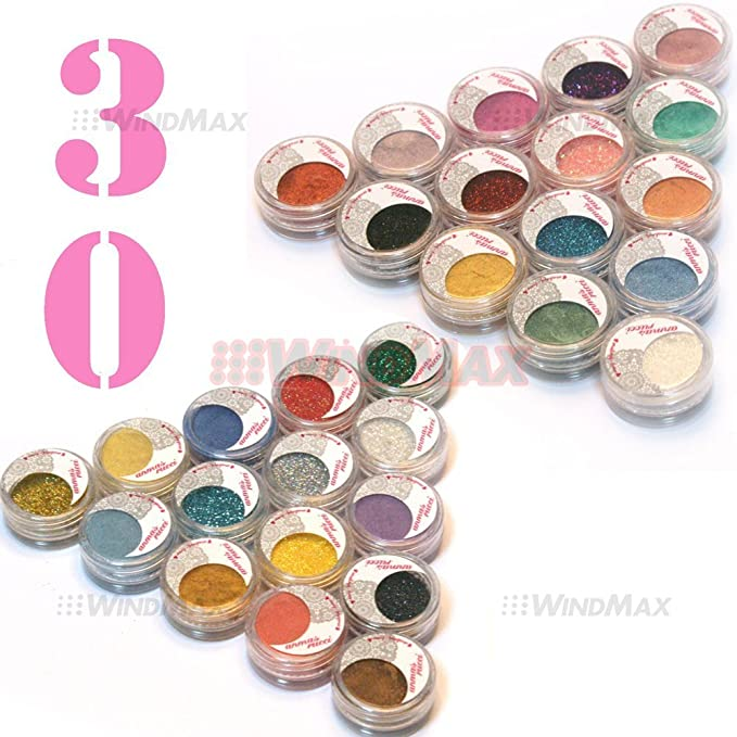 30 Pieces Mulit Color Cold Smoked Warmer Glitter Shimmer Pearl Loose Eyeshadow Pigments Mineral Eye Shadow Dust Powder Makeup Party Cosmetic Set AE#