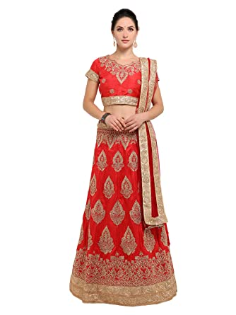 d5bcf650c6a Inddus Red Zari Embroidered Semi Stitched Lehenga Choli  Amazon.in   Clothing   Accessories