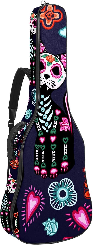 Bolsa para guitarra acústica con múltiples bolsillos, acolchado grueso, impermeable, funda para guitarra, diseño de gato morado, México Helloween