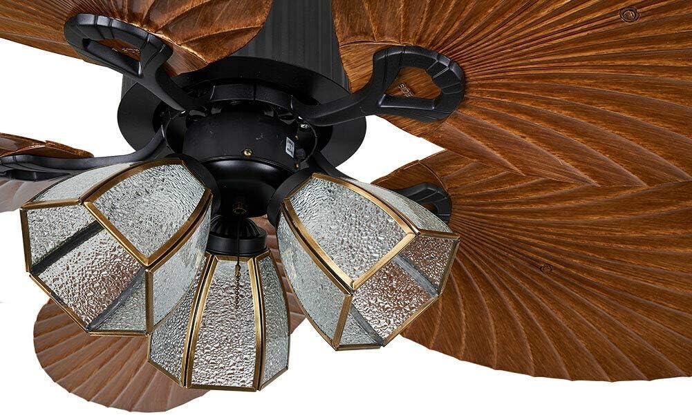 silencioso ventilador retro con luz interruptor de 3 velocidades Ventilador de techo de 52 con iluminaci/ón 4 aspas reversibles