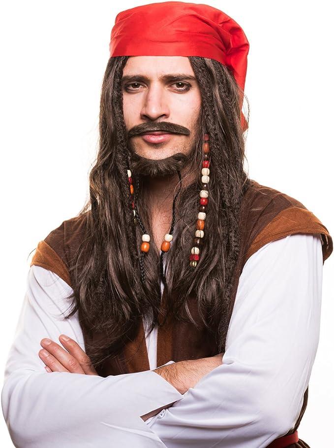 con perlas und roten Bandana para la perfecto Disfraz de pirata zum Carnaval y el carnaval Peluca de pirata Piratas Pirata Ladr/ón De Mar Peluca