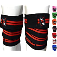 AQF Knee Wraps Weight Lifting Bandage Heavy Duty Elasticated Support Straps Guard Powerlifting, Squatting