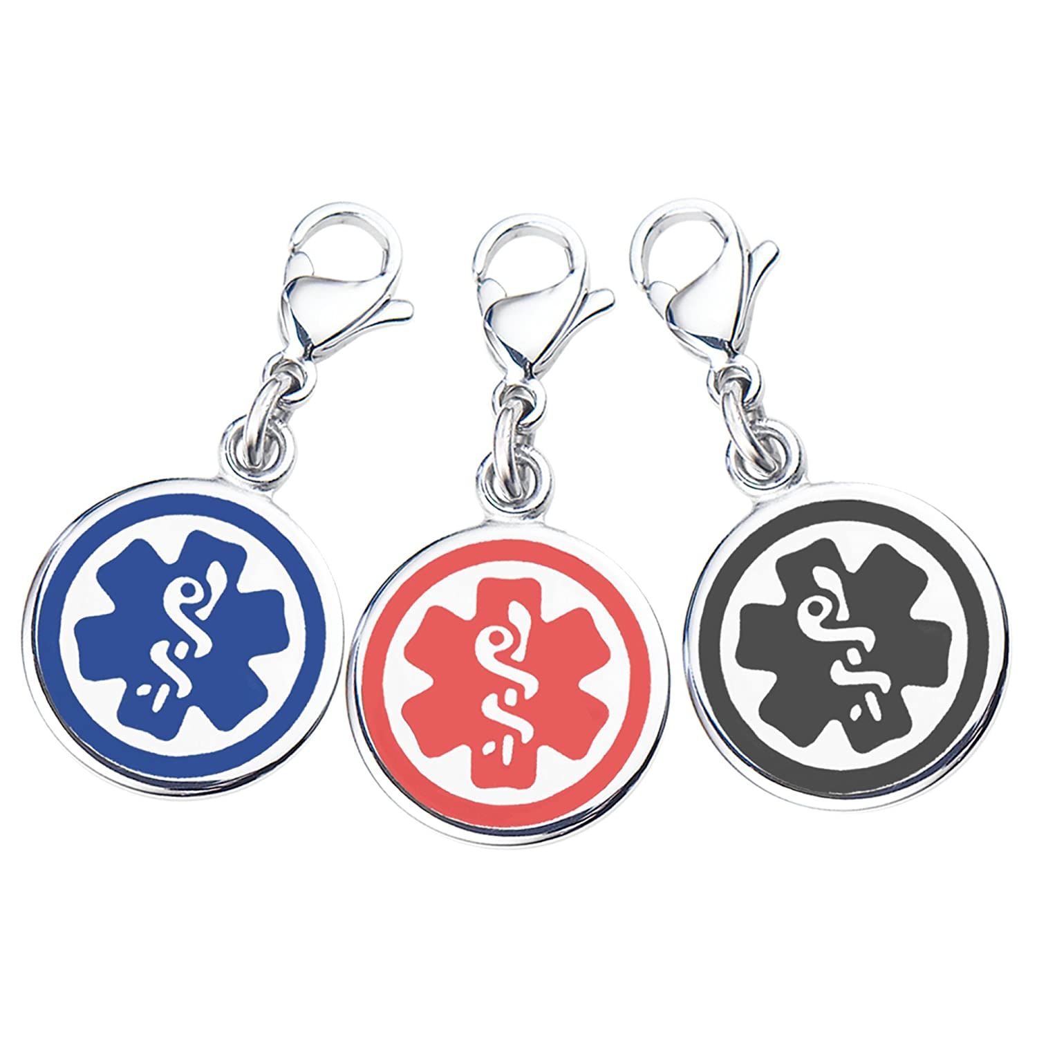 Mix N Match 3/8 (10mm) 316L Double-Sided Medical Alert ID Charms-3 Pack, Free Medical ID Cards, Medcial Alert Apps Medcial Alert Apps -Blue Black & Red Divoti Inc. 9930PCK-A