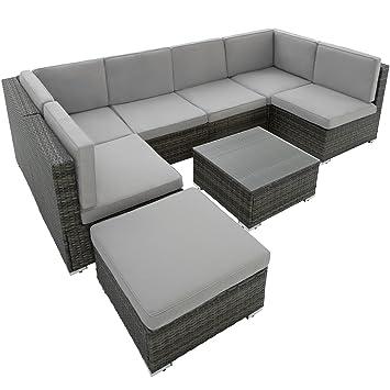 TecTake Conjunto Muebles de Jardín en Ratán Comedor Juego | 6 ...