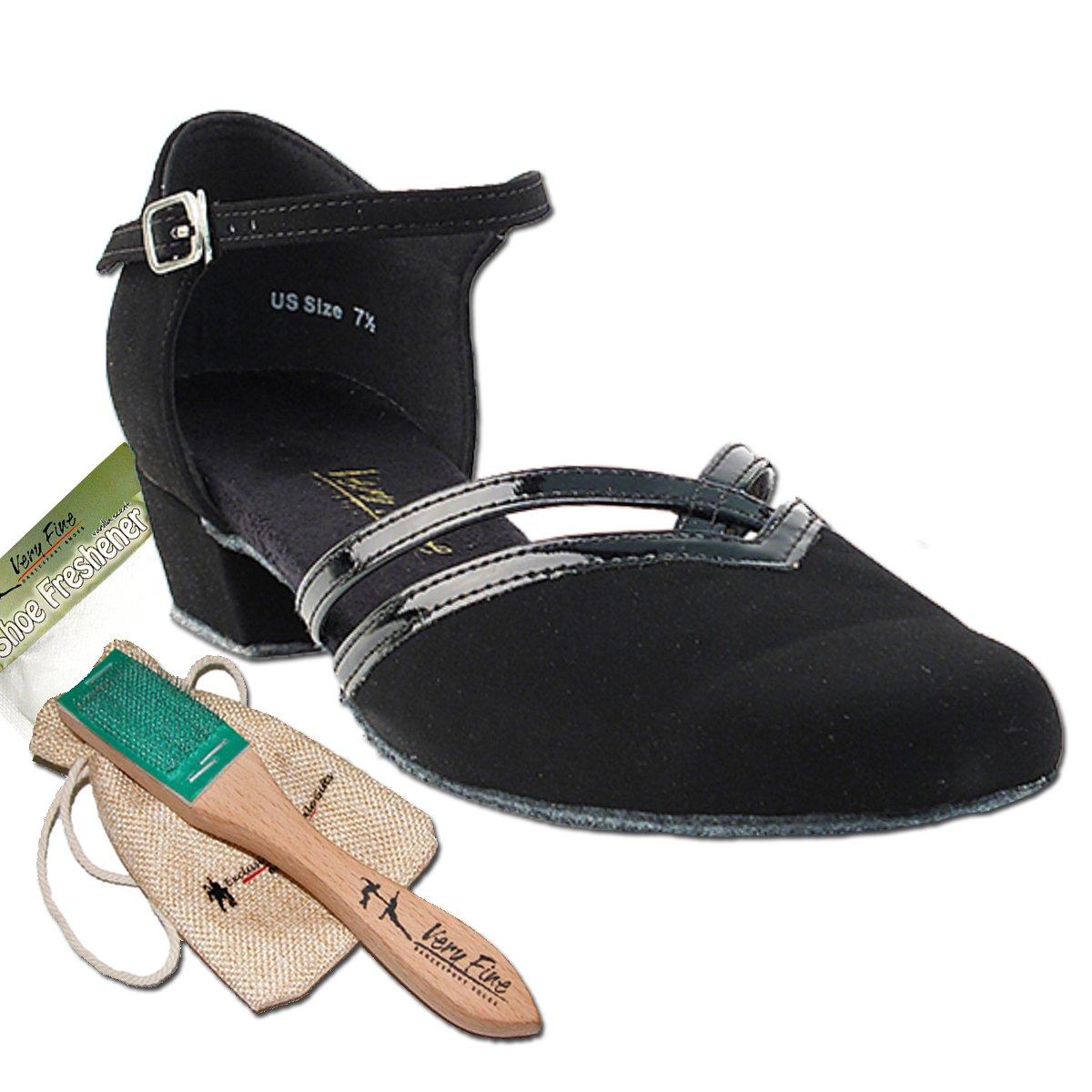 Womens Ballroom Dance Shoes Party Salsa Practice Shoes Black Nubuck 8881EB Comfortable - Very Fine 1'' Heel 8 M US [Bundle of 5]