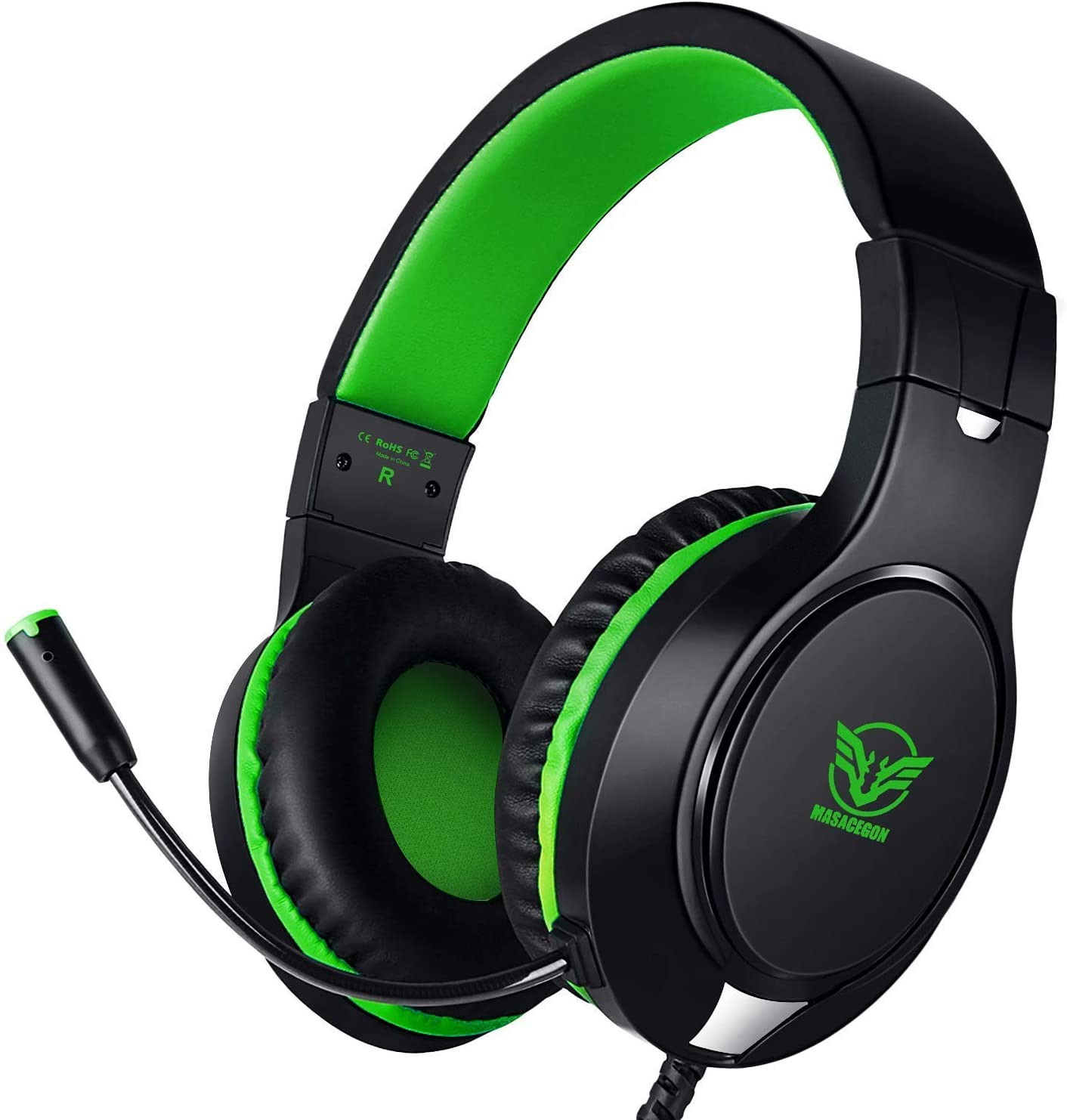 Gaming Headset for PS4, Xbox One, Nintendo Switch, Adjustable Earmuffs and Over-All Noise Isolation, Lightweight 3.5mm Wired Volume Control with Mic for Laptop PC