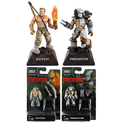 Mega Construx Heroes Bundle of 2 Black Series Mini Figures Predator and Dutch: Toys & Games