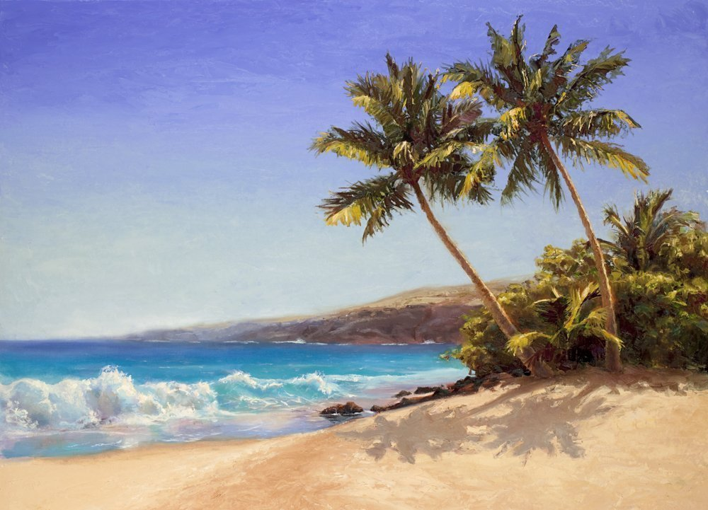 Hawaii Beach Landscape Art Print - Waves, Ocean, and Palm Trees -Tropical Painting by Karen Whitworth