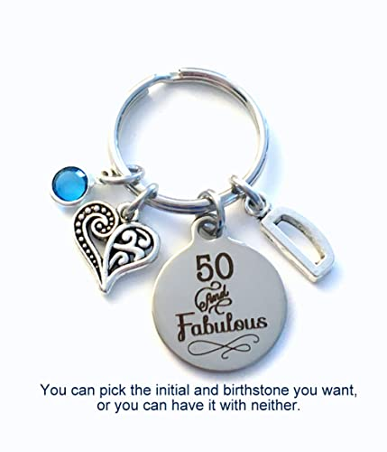 50th Birthday Gift For Women 50 And Fabulous Keychain Daughter Sister Best Friend Etc Key Chain Fab Present