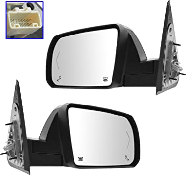 Power Side View Mirror w// Black Cap Pair Set for Tundra Sequoia