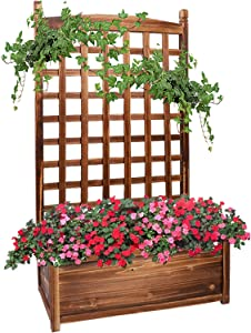 unho Outdoor Garden Bed 45.2x25.2x13.8in Wood Planter Box Climbing Plants Flowers Container with Trellis for Balcony Yard Patio Lawn