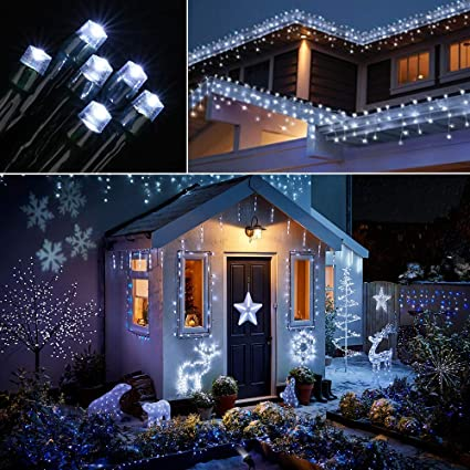 new style ced72 51727 SmartDirect Outdoor Wave Icicle Lights,Solar Powered,19.7ft Long 300 LED,8  Mode Snowing Lights for Window Wall Party Home Patio Lawn Garden Bush Fence  ...