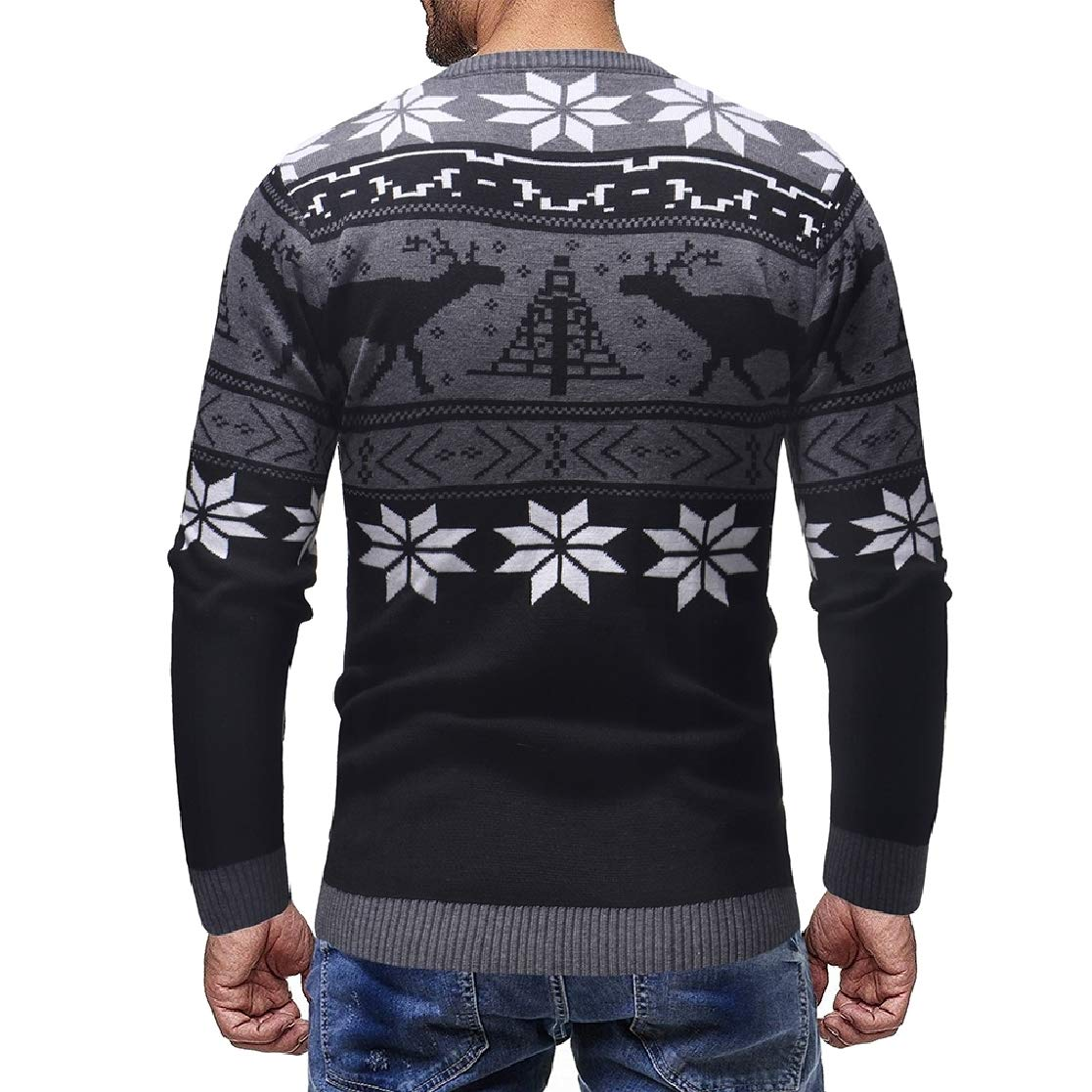 YUNY Mens O-Neck Chirstmas Leisure Long-Sleeved Comfort Business Knitwear Black L