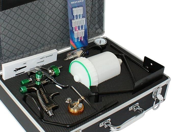 LVLP Lackierpistolenset mit 1,3mm & 1,8mm Düsensatz, inkl. Lackierpistolenhalter und hochwertigem Alukoffer