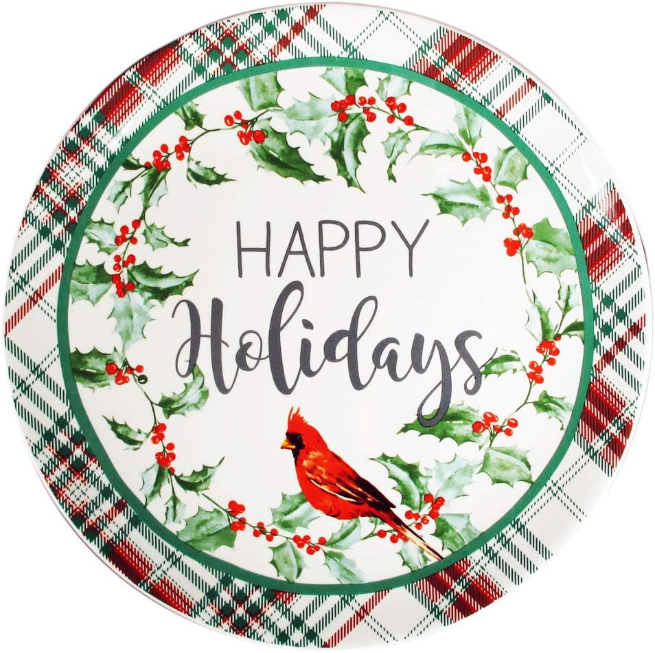 Transpac 12 Holly Leaf Cardinal Ceramic Christmas Plate - Decorative Tartan Plaid Holiday Platter - Food Grade Dolomite Dinnerware - Traditional Winter Kitchen Decor and Serving Tray for Desserts