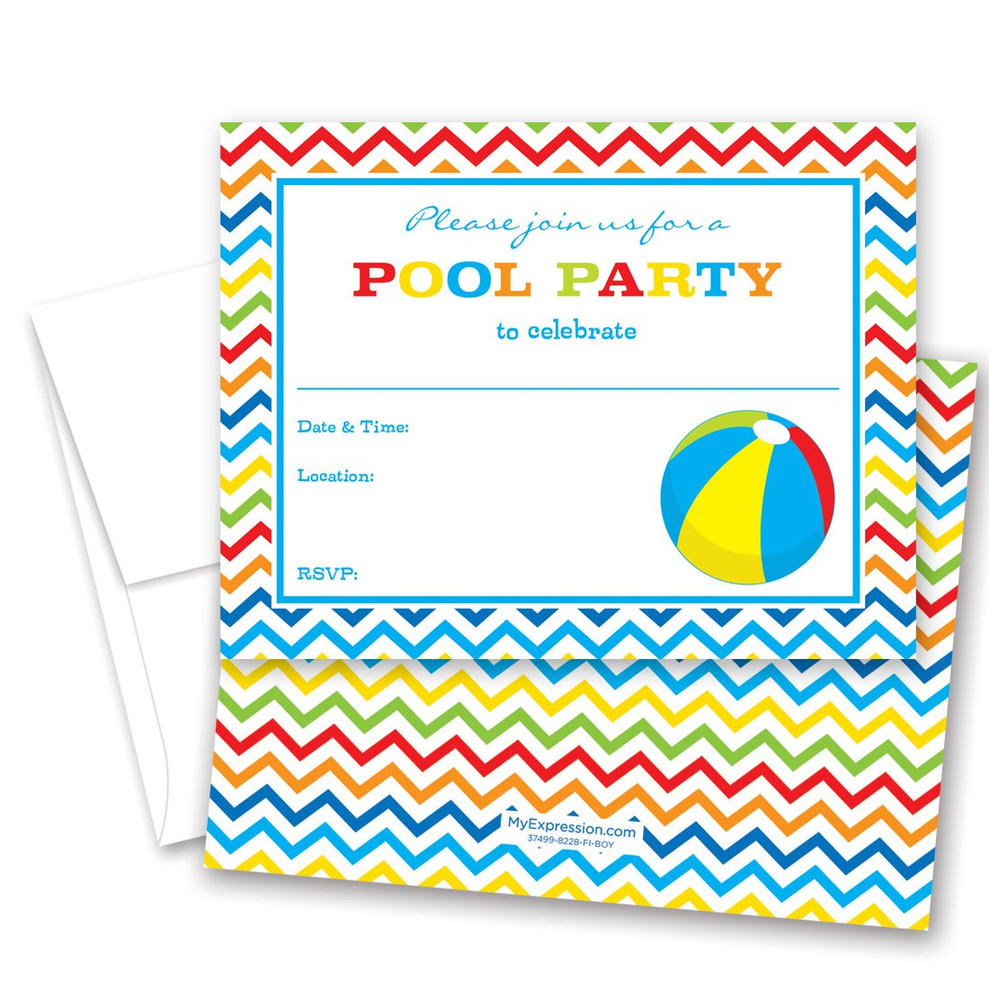 Amazon.com: 24 Pool Party Beach Ball Fill-in Kids Birthday Party ...