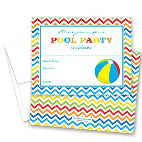 kids beach party invitations amazon com