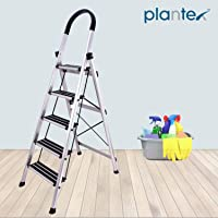 Plantex Prime Foldable Aluminium Ladder for Home Use/Wide Anti Skid Step Ladder (Anodize Coated Silver)