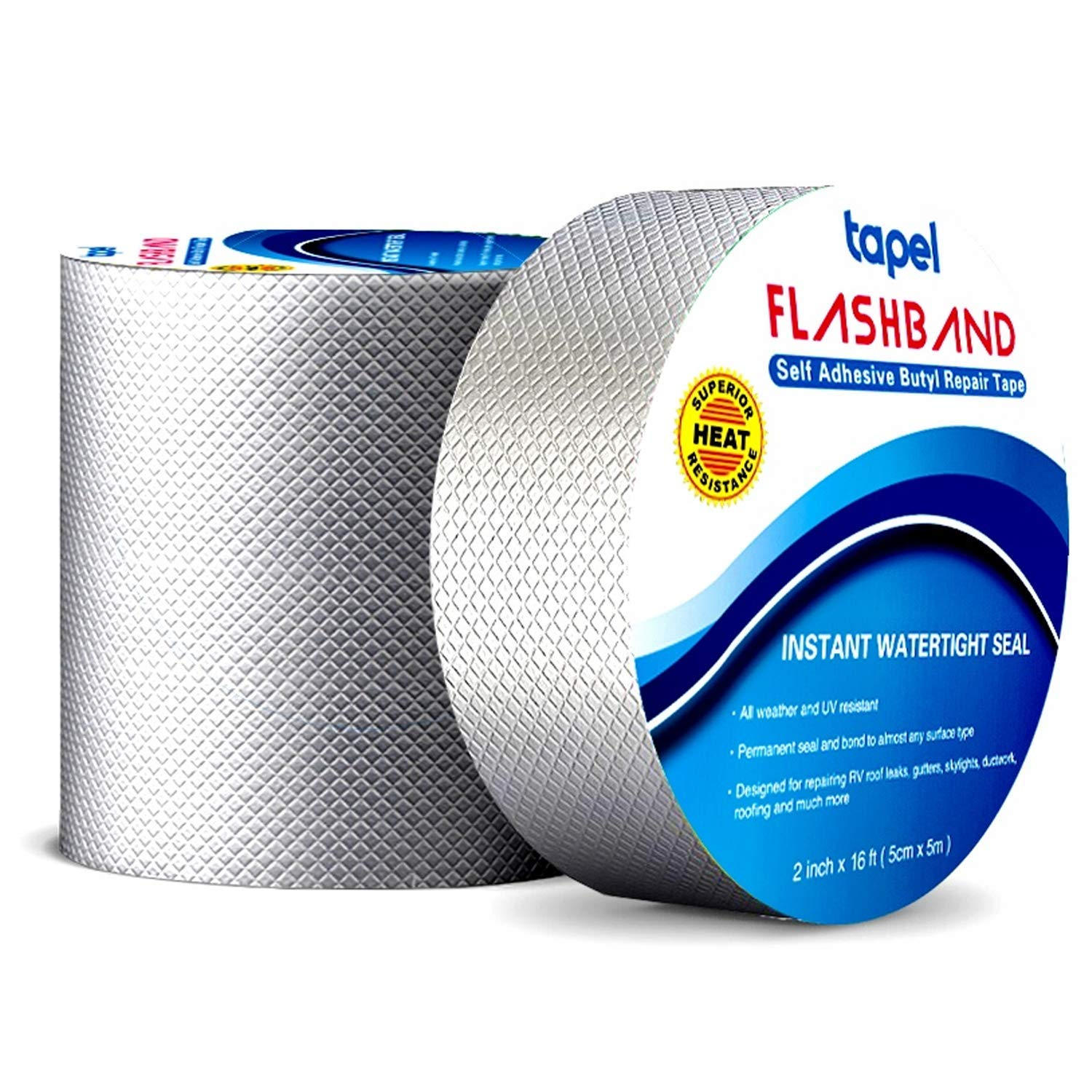 """Tapel Butyl Waterproof Tape - 2"""" X 16' - Leak Proof Long Lasting Watertight Rubber Putty Butyl Tape for RV Repair, Window, Silicone, and Boat Sealing, Glass & EDPM Rubber Roof Patching"""