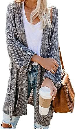 Ybenlow Womens Loose Knit Open Front Kimono Cardigans Drape Cape Long Sleeve Sweater Cloak Outwear