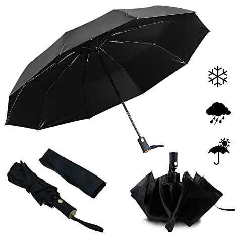 Emooqi 210T Paraguas Plegable Automático Paraguas de Viaje 10 Varillas Contra Viento Tela Impermeable UV Soleado