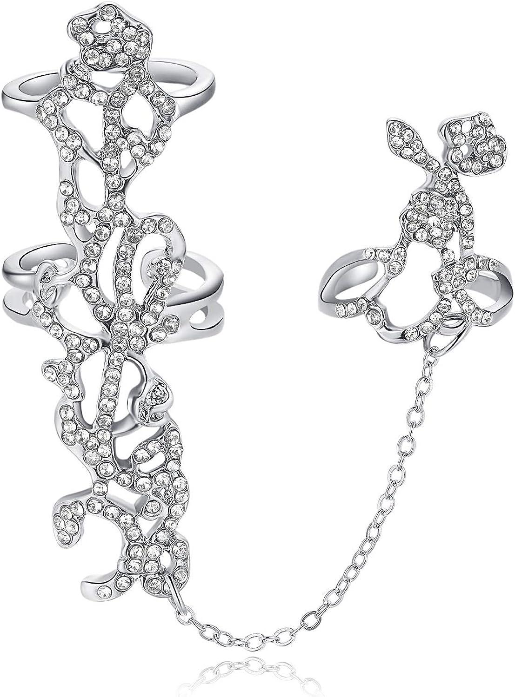 Women Crystal Rose Flower Finger Chain Wedding Bridesmaid Bridal Statement Ring Adjustable