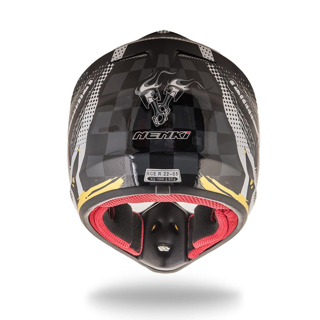 con certificado ECE NENKI NK-303 Cascos de moto cross para ni/ños y j/óvenes Hot Pistons
