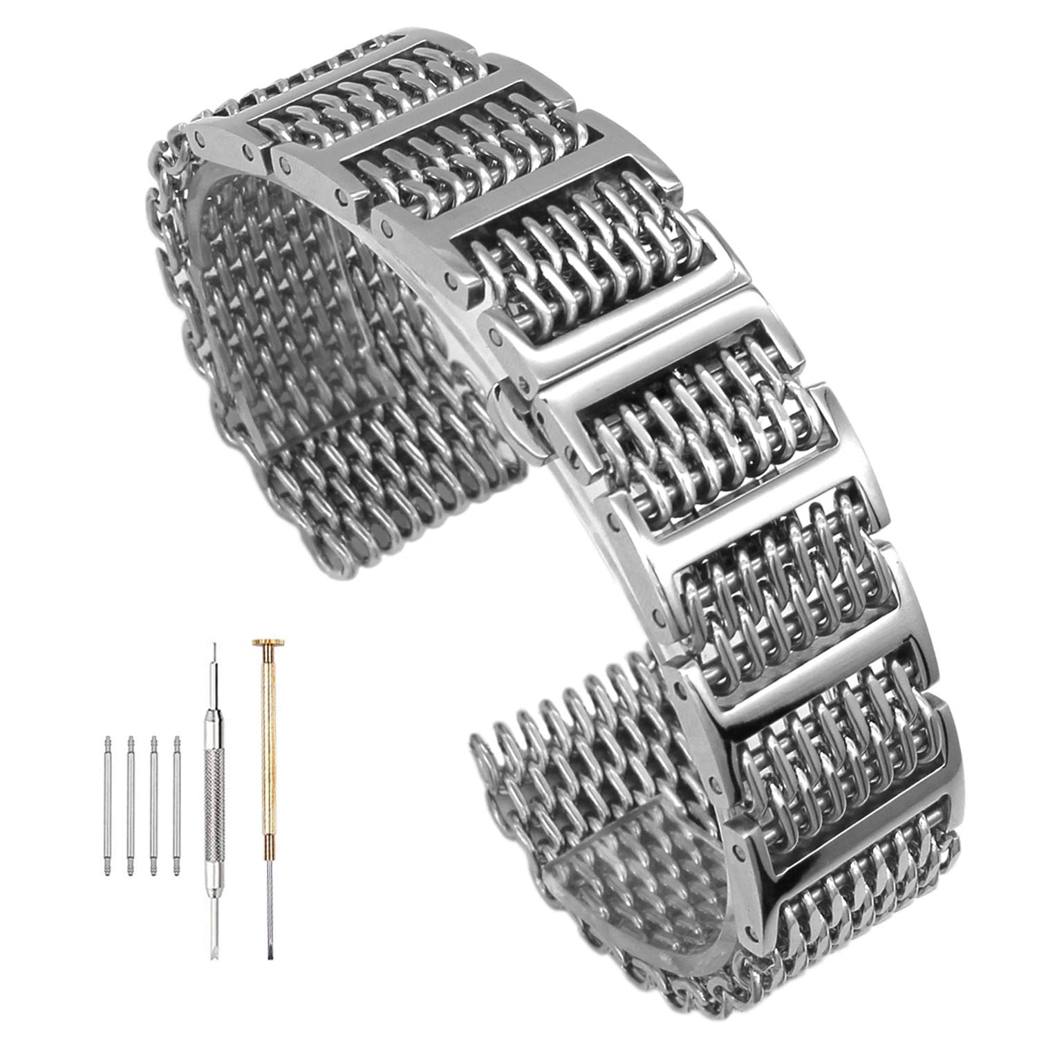 20mm/22mm24mm Shark Mesh H Link Butterfly Polished Stainless Steel Watch Band Butterfly Buckle Silver/Black (22mm, Silver) by Hstrap
