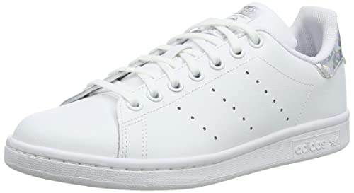 adidas Originals Stan Smith J WhiteSilver Iridescent Leather Youth Trainers Shoes
