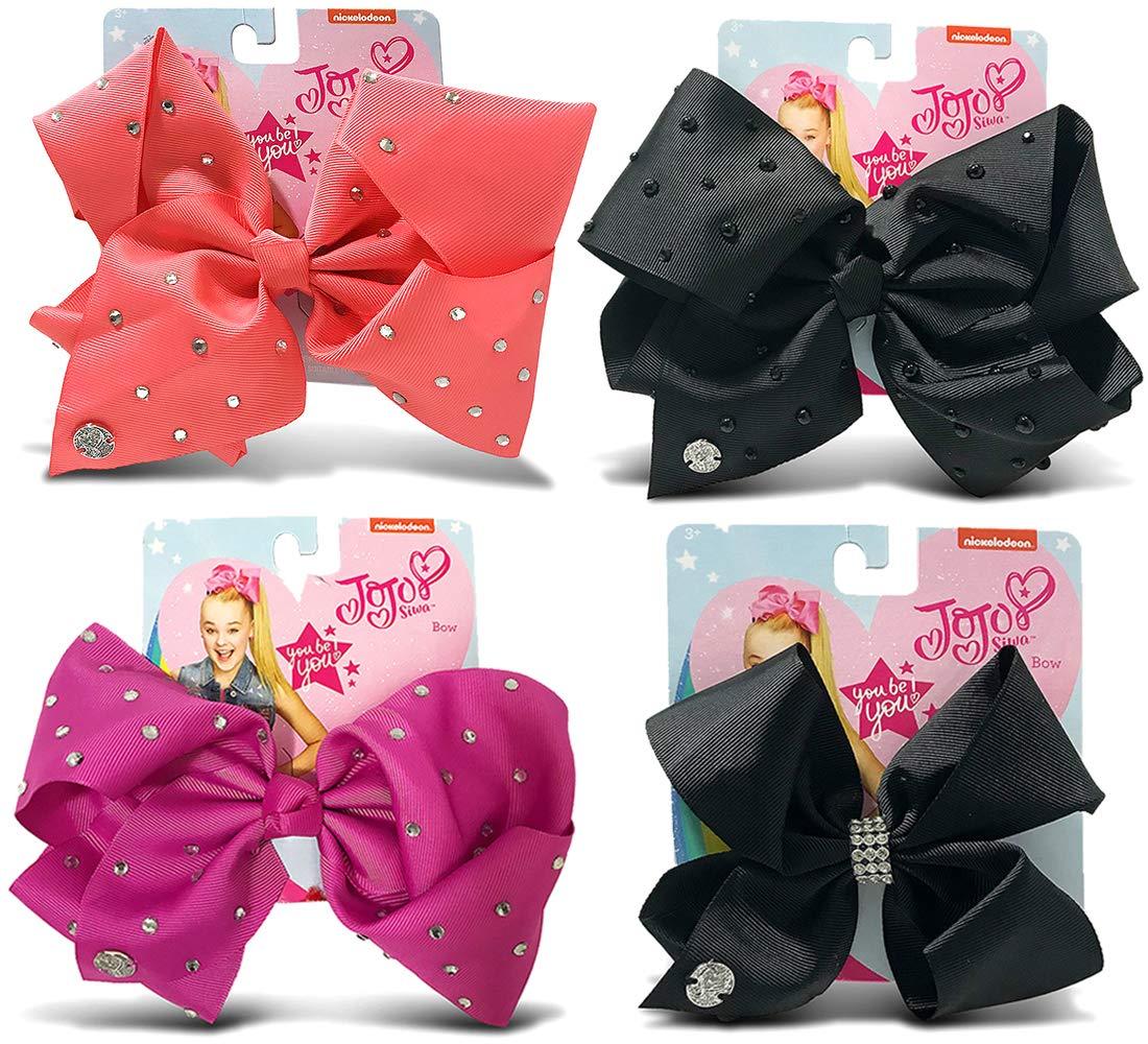 Warp Gadgets Bundle - JoJo Siwa Coral, Berry, Black Center Loop Rhinestone and Black with Pearls Signature Bows with Rhinestones (4 Items)