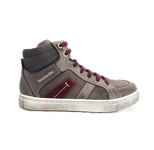 Nero Giardini - Sneakers Alte Bambino Ragazzo in Pelle e camoscio - Grigio  A624010M   A634010M 104  Amazon.it  Scarpe e borse 278f03e1d68