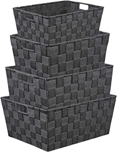 LEAVINSKY Nylon Woven Box, Woven Strap Storage Basket Bin Container, Stackable Storage Basket Woven Strap Shelf Organizer, Nylon Storage Basket for Closet, Shelf, Office, 4 Pack, Grey