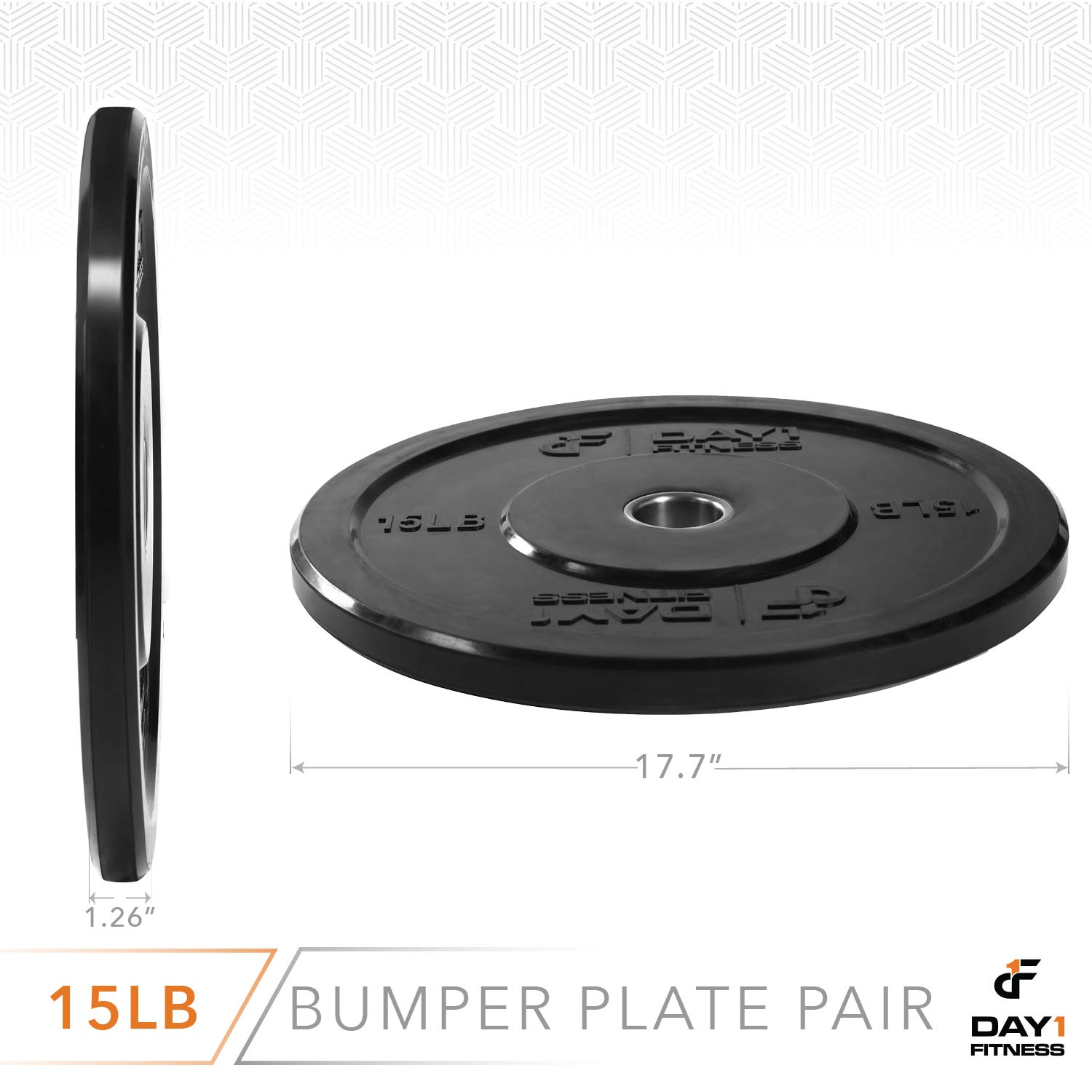 """Day 1 Fitness Olympic Bumper Weighted Plate 2"""" for Barbells, Bars – 15 lb Set of 2 Plates - Shock-Absorbing, Minimal Bounce Steel Weights with Bumpers for Lifting, Strength Training, and Working Out by Day 1 Fitness (Image #4)"""