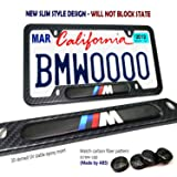 Carbon Fiber License Plate Frame-2 Pack Black