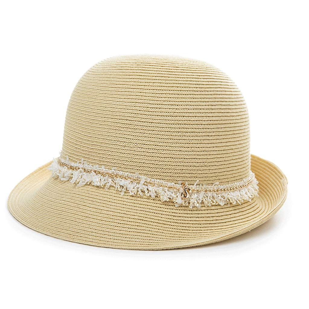 Beige ZHANGHAIMING UPF + 50 Fisherman's Hat, Women's Summer Adjustable Straw Hat Elegant Casual Sun Hat Foldable 4 colors (color   White)