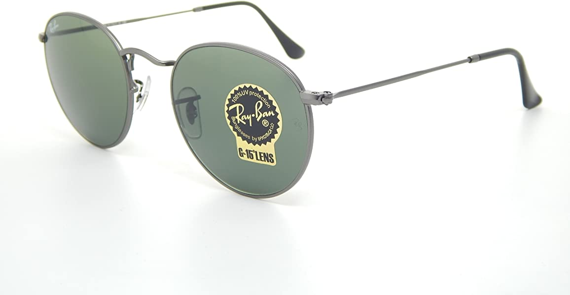 5e409cafeddf3 Amazon.com  New Ray Ban Round RB3447 029 Matte Gunmetal Crystal Green Lens  50mm Sunglasses  Shoes