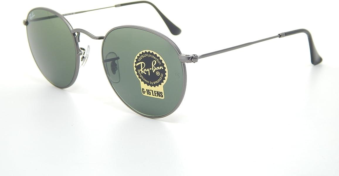6101928ad5b Amazon.com  New Ray Ban Round RB3447 029 Matte Gunmetal Crystal Green Lens  50mm Sunglasses  Shoes