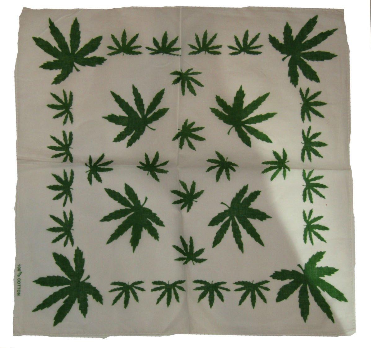 K's Novelties 22″x22″ White Weed Hemp Marijuana Refer Leaf Border Bandanna