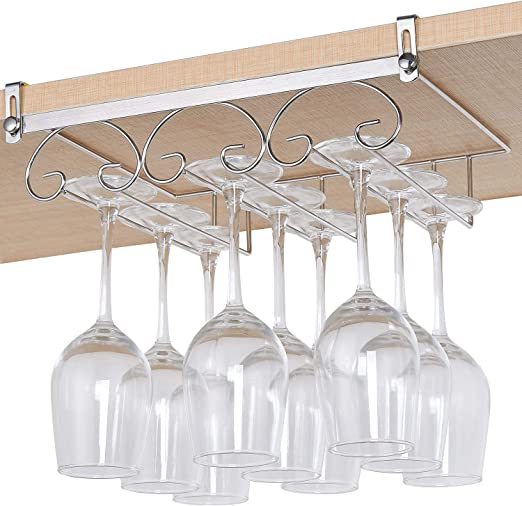 Under Cabinet Stemware Hanging Wine Glass Rack Holder W// Screws Home Bar Decor