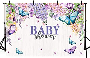Mehofond Purple Floral Flower Baby Shower Backdrop for Boy or Girl Butterfly Kisses Spring Garden Party Photography Background Studio Photo Props Banner 7x5ft