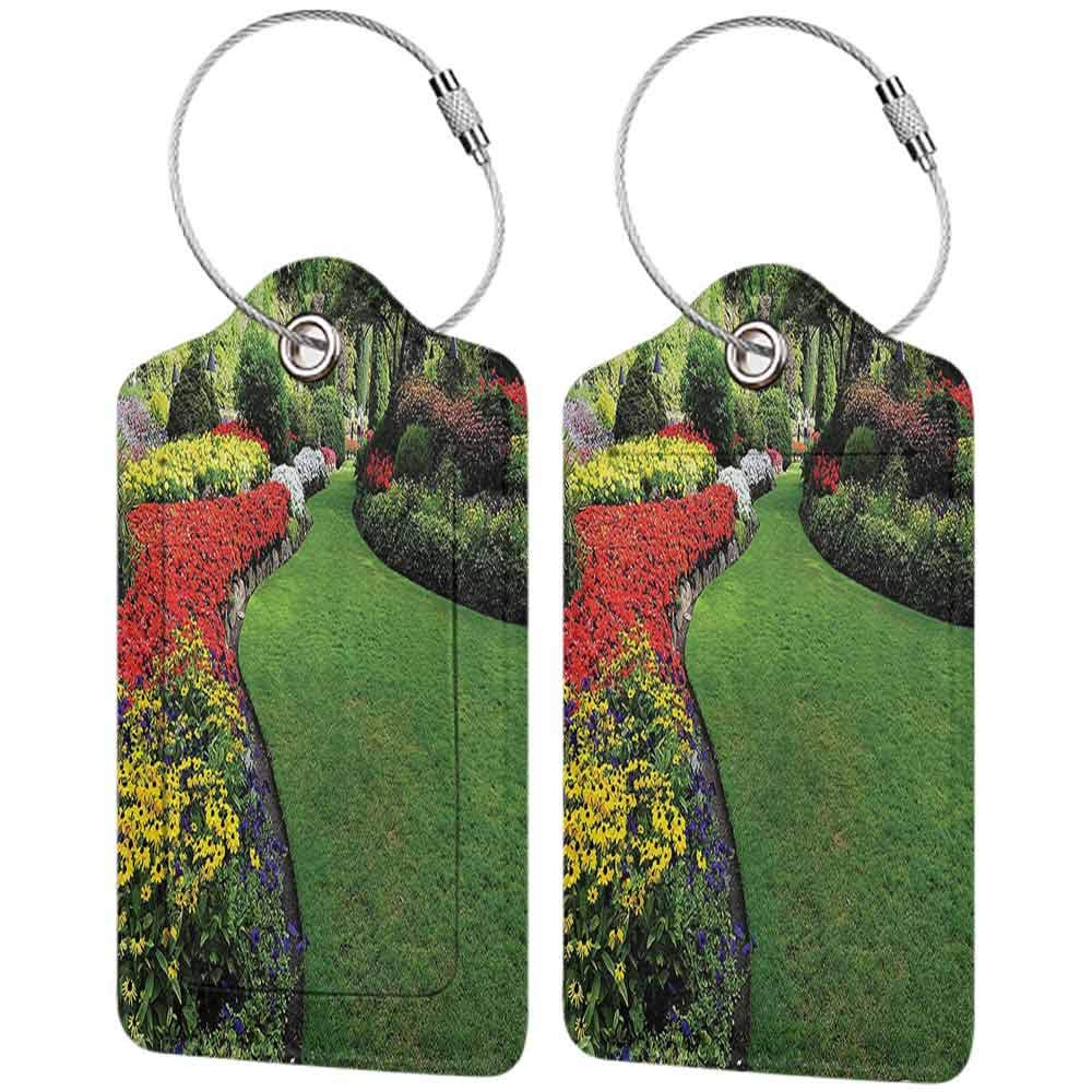 Multicolor luggage tag Country Home Decor Collection Curvy Border of Grasses and Flower Beds in Formal Garden Summer Days Landmarks Hanging on the suitcase Green Red Yellow W2.7 x L4.6