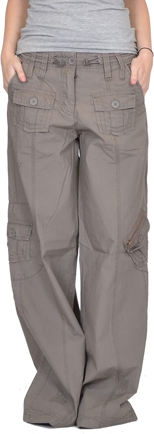 New Ladies Womens Baggy Wide Leg Loose Lightweight Combat Trousers Cargo Pants