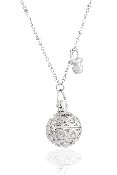 argentoè llamador de ángeles Bola Mexicana rodiada Perforada con xilófono Interior Blanco Plata Collar 100 cm con Colgante Chupete